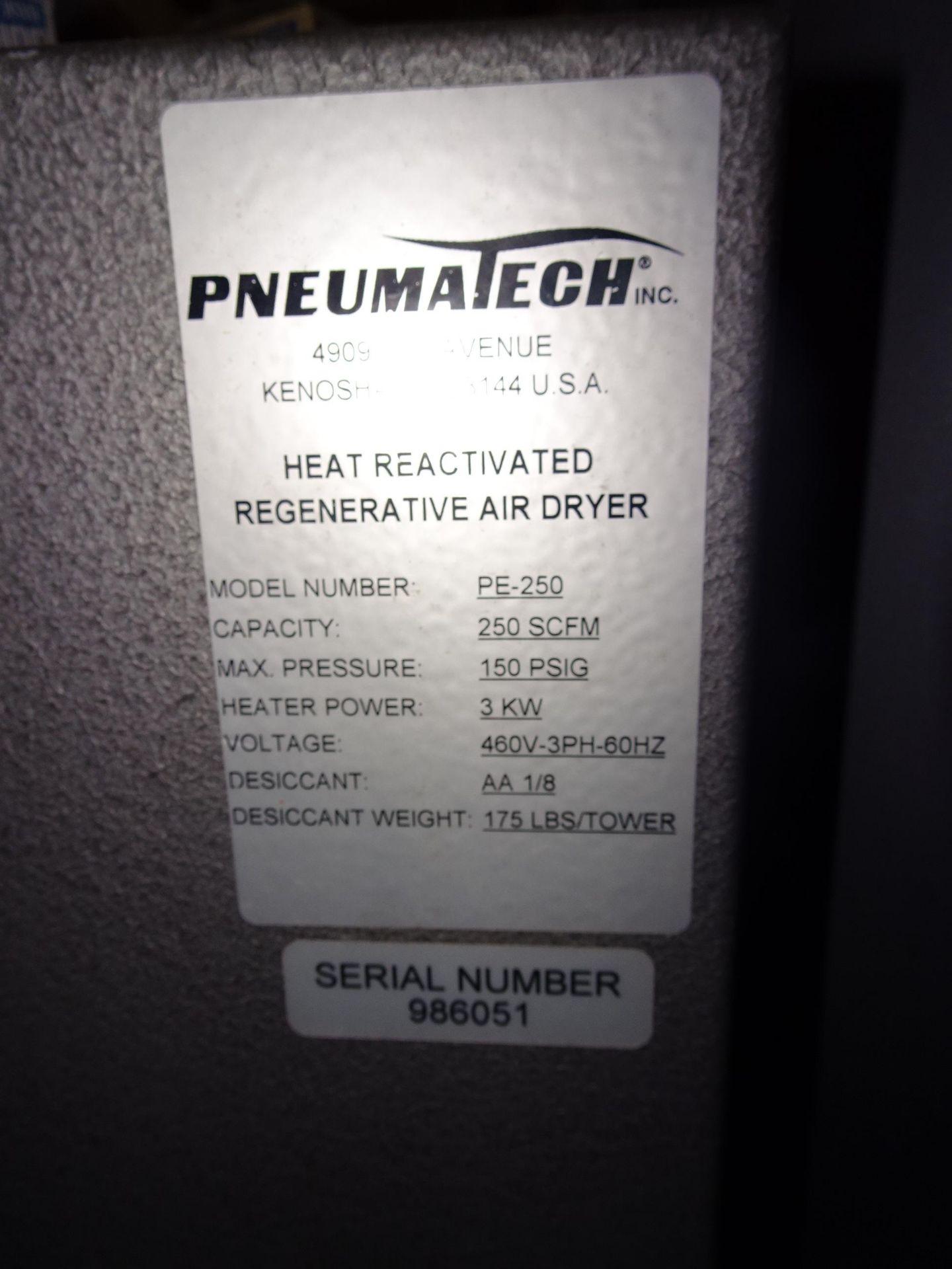 Lot 31 - Pneumatech Model PE-250 Regenerative Dessicant Air Drier 250 SCFM @ 150 PSIG Capacity