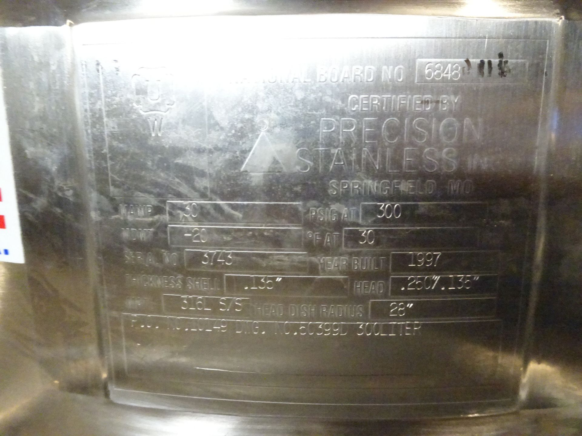 Lot 30 - Precision Stainless 60 Gallon 316L Stainless Steel Jacketed Tank
