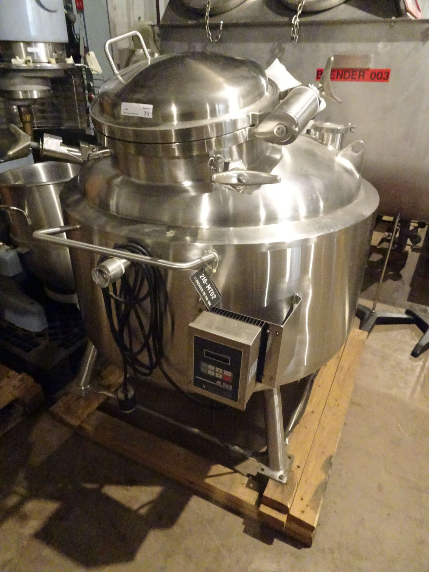 Lot 29 - T&C 316L Stainless 350 Liter Jacketed Tank With Bottom Agitation.