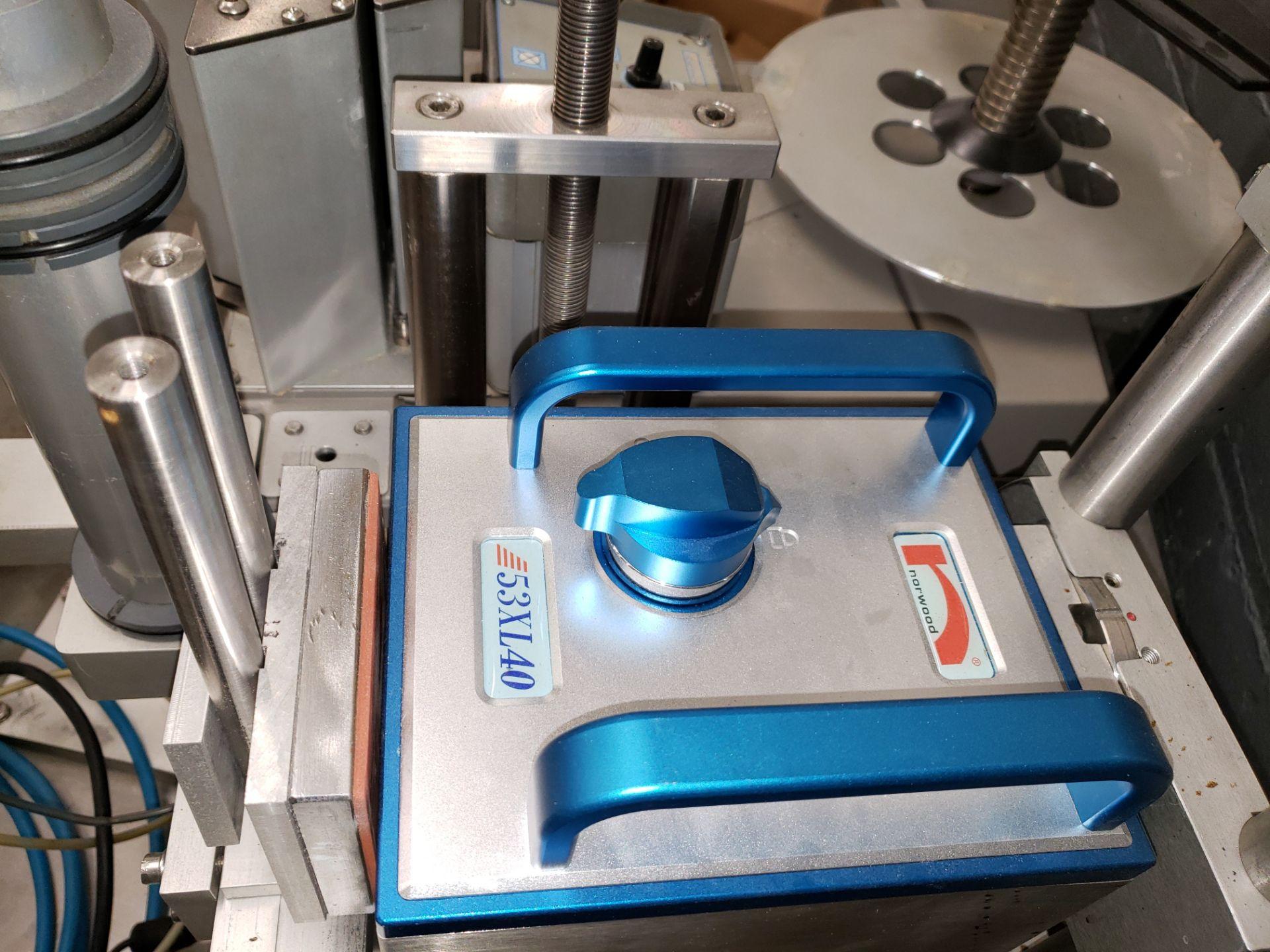 "Lot 36 - LabelStar pressure sensitive labeler, model LS130DX, 6"" max web, with Norwood 53XL40 hot stamp"