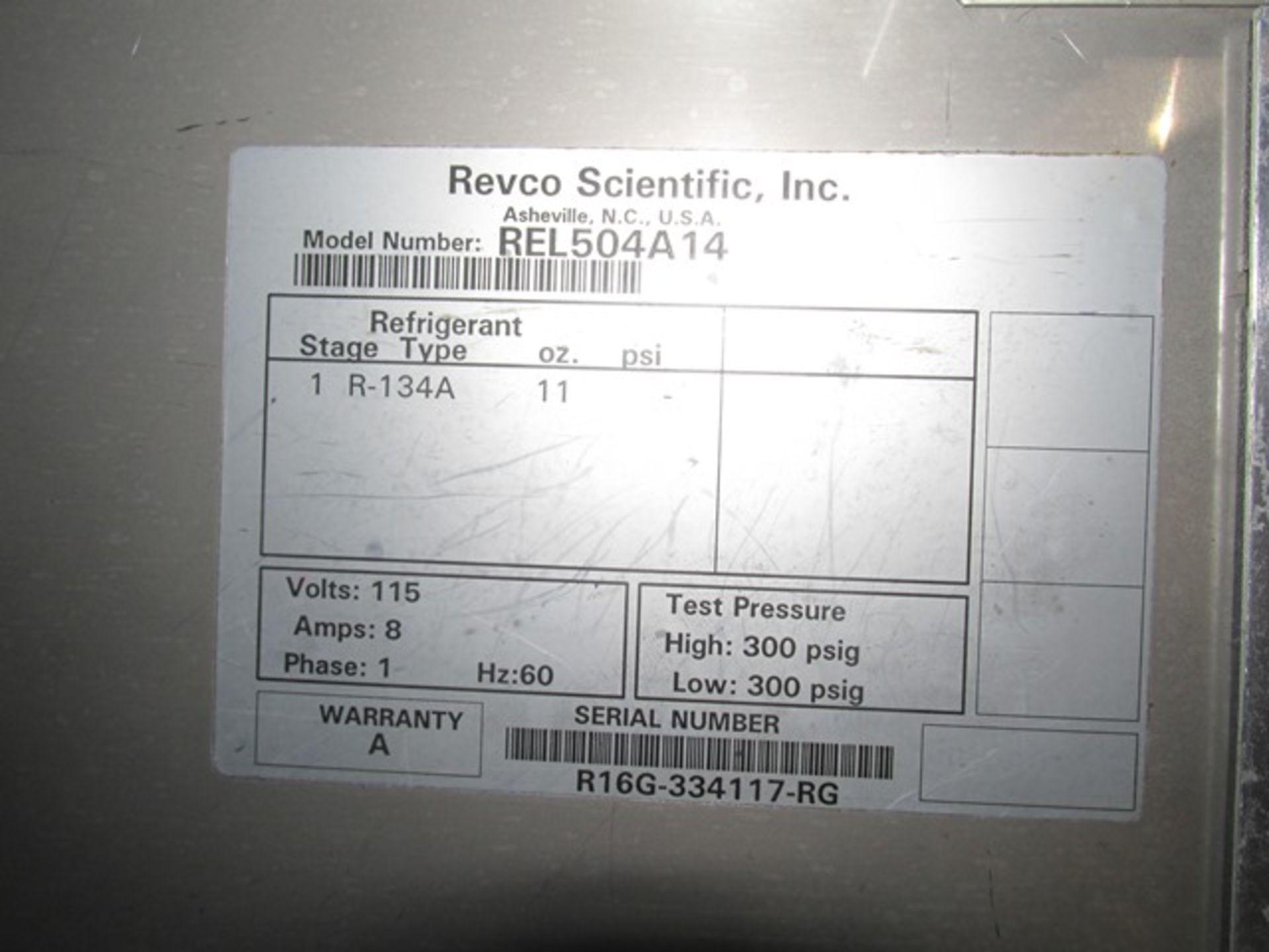Lot 54 - Revco refrigerator/freezer, S/S interior, with 2 shelves, model REL504A14