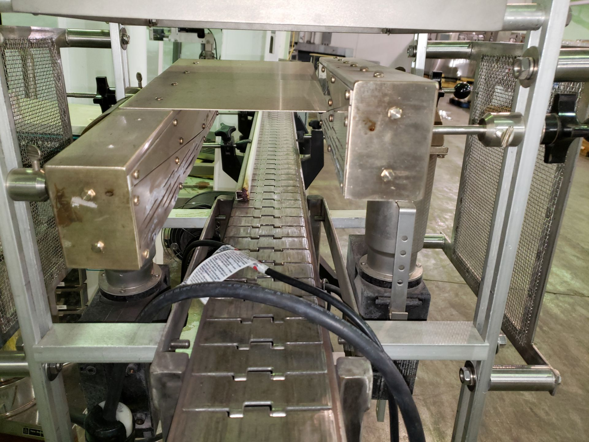 """Lot 8 - Used 84"""" long x 4.5"""" wide Leister drying conveyor, stainless steel construction with carbon steel"""