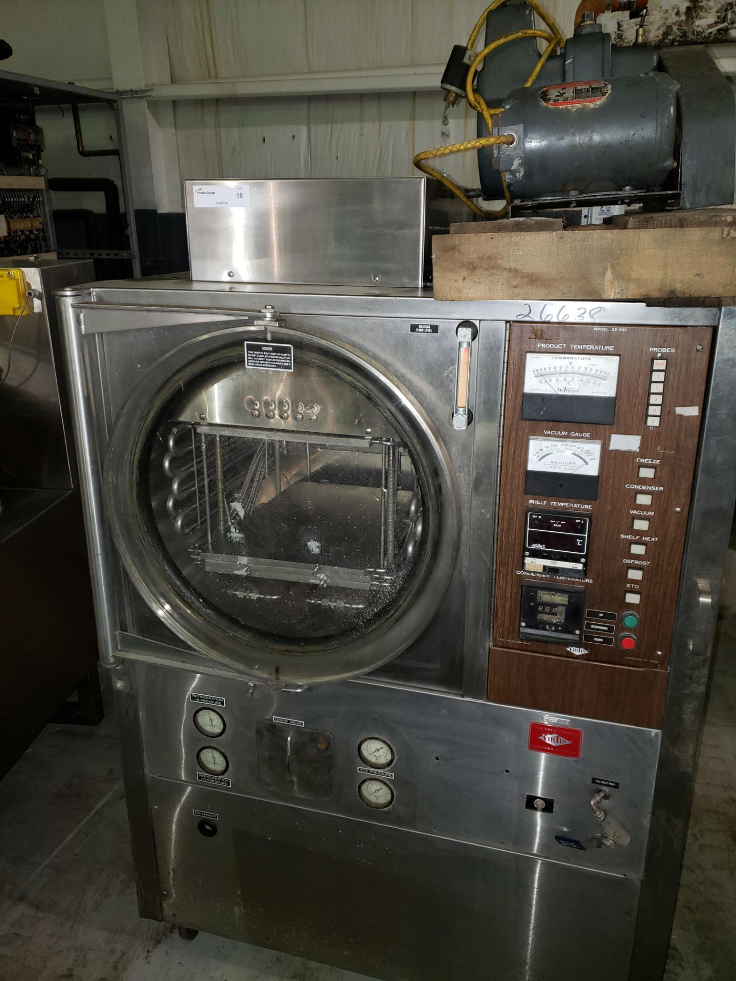Lot 18 - Used Virtis freeze dryer, model RS-SRC-3MS, stainless steel construction, 4 sq ft shelf area, (3)