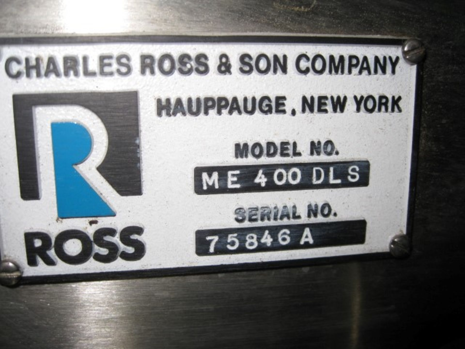 Lot 45 - Ross Dual Stage Inline Homogenizer, Model ME400DLS, sanitary stainless steel construction,