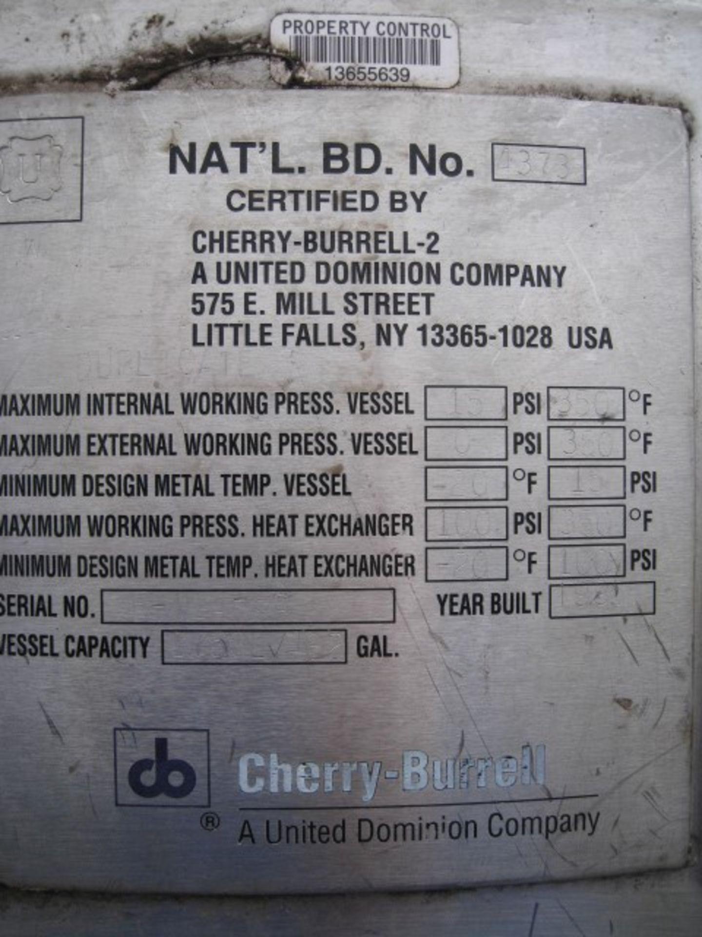 Lot 10 - 1750 Liter (462 gallon) Cherry-Burrell reactor, 316L stainless steel construction