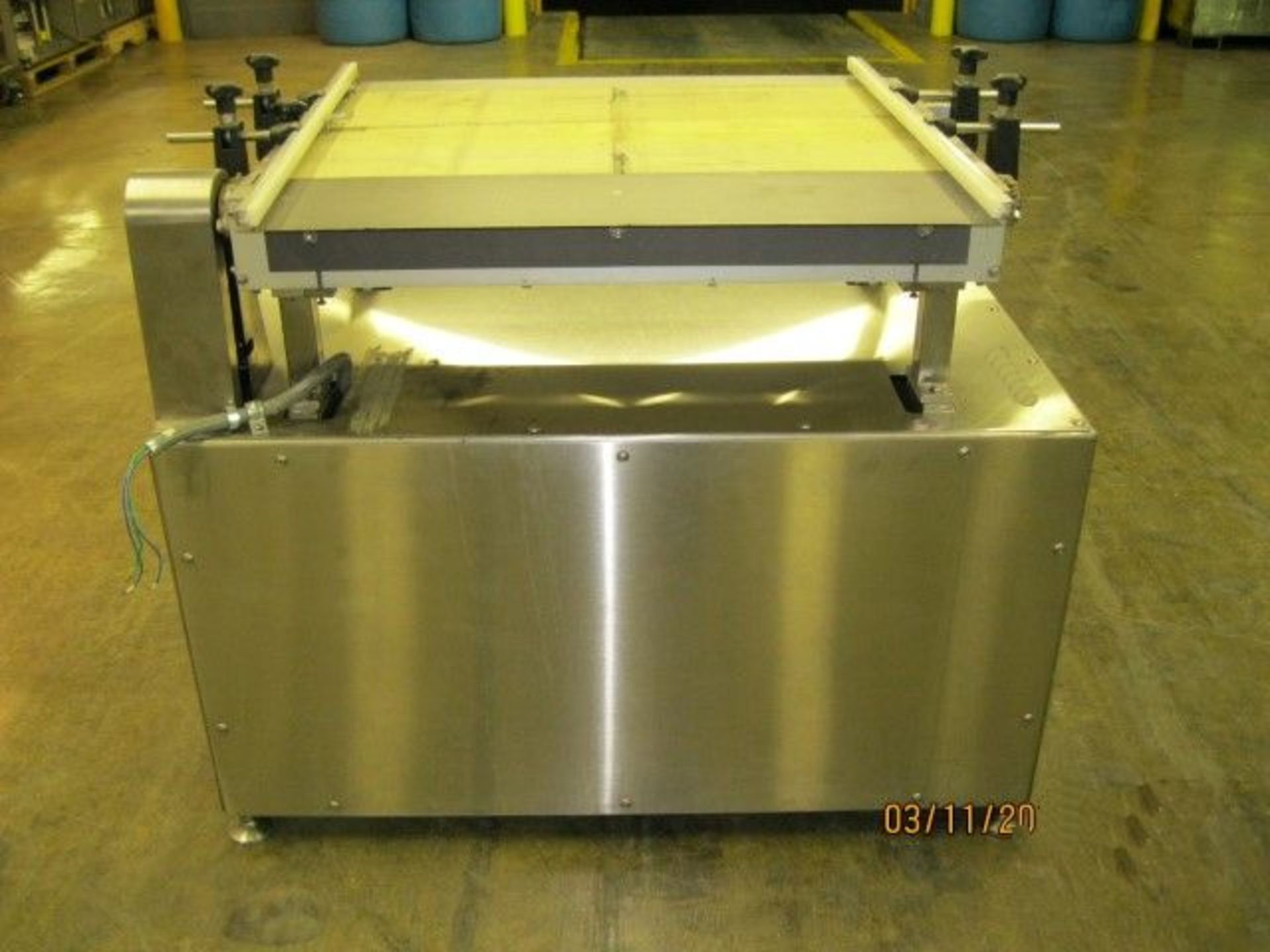 """Lot 19 - 30"""" wide x 18"""" long belt conveyor, stainless steel base and sides with motor drive"""