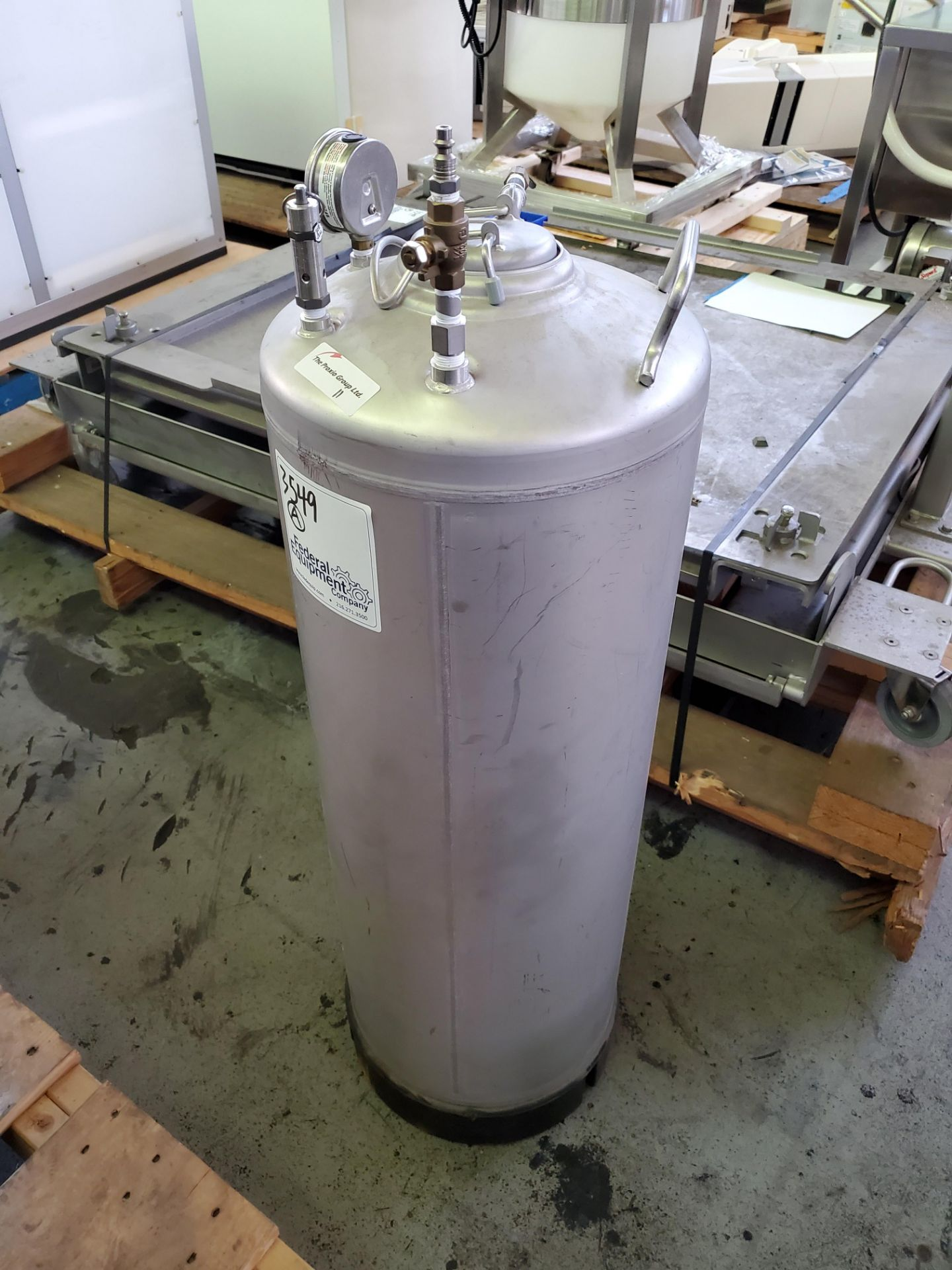 """Lot 11 - Alloy Products 316L stainless steel tank, 12"""" diameter x 29"""" straight side, rated 170 psi, serial#"""