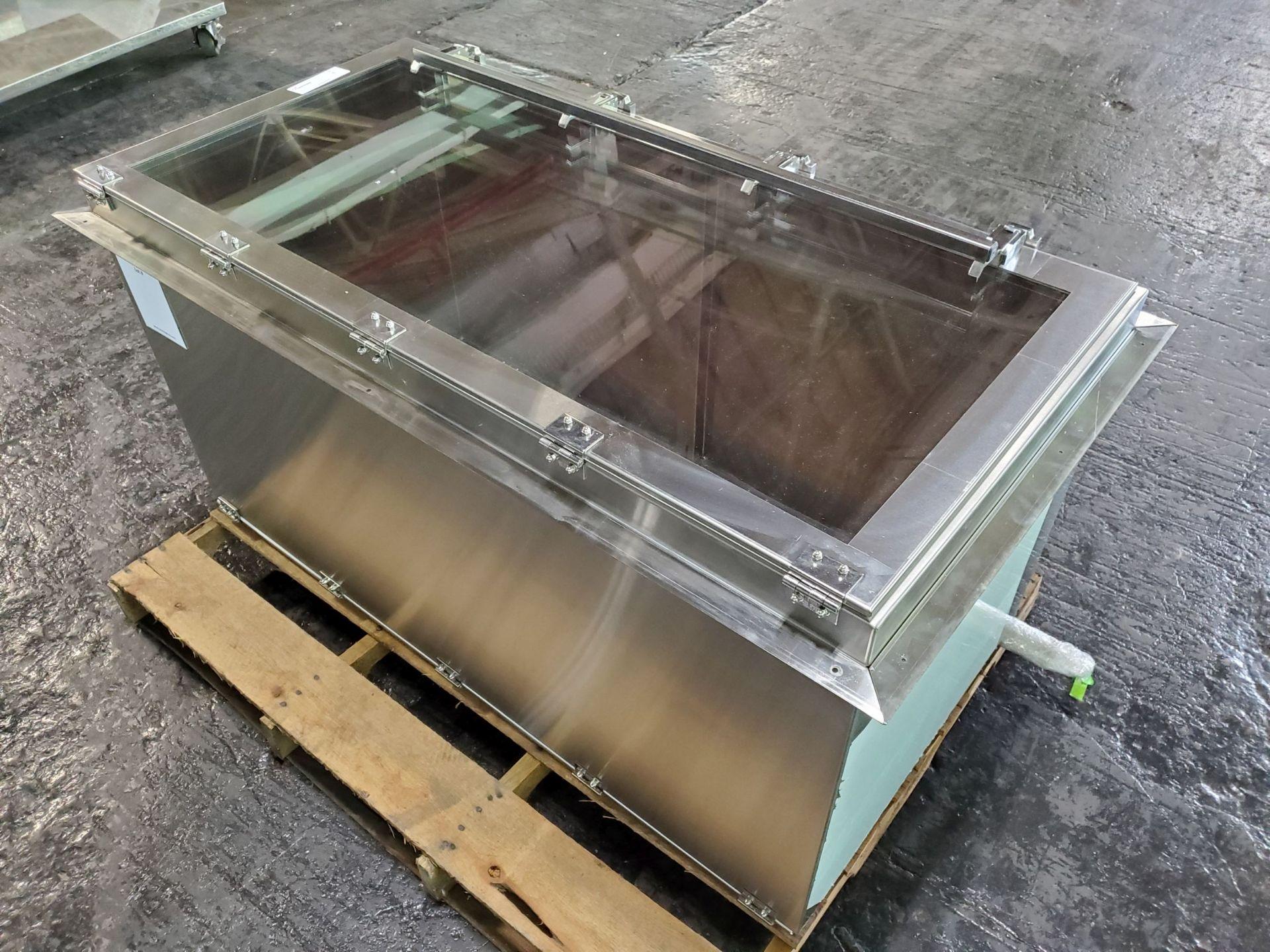 Terra Universal Pass-Thru Chamber, wall mount, stainless steel frame with plexiglass windows,