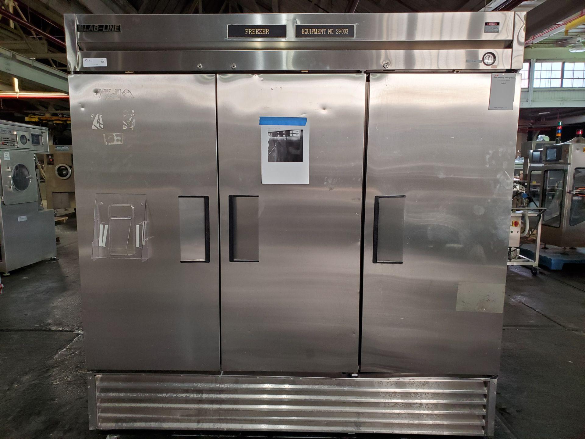 "(3) door Lab Line Freezer, model T-72F 75"" wide x 24"" deep x 52"" high chamber, R404A refrigerant,"