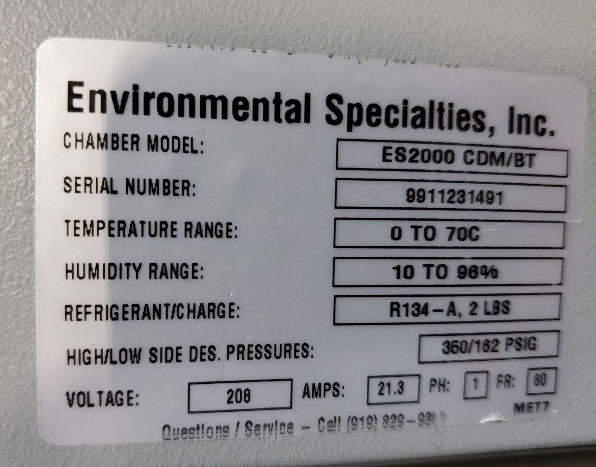 Environmental Specialties Stability Chamber, model ES2000 CDM/BT, 0-70 C and 10-96% humidty range, - Image 6 of 9