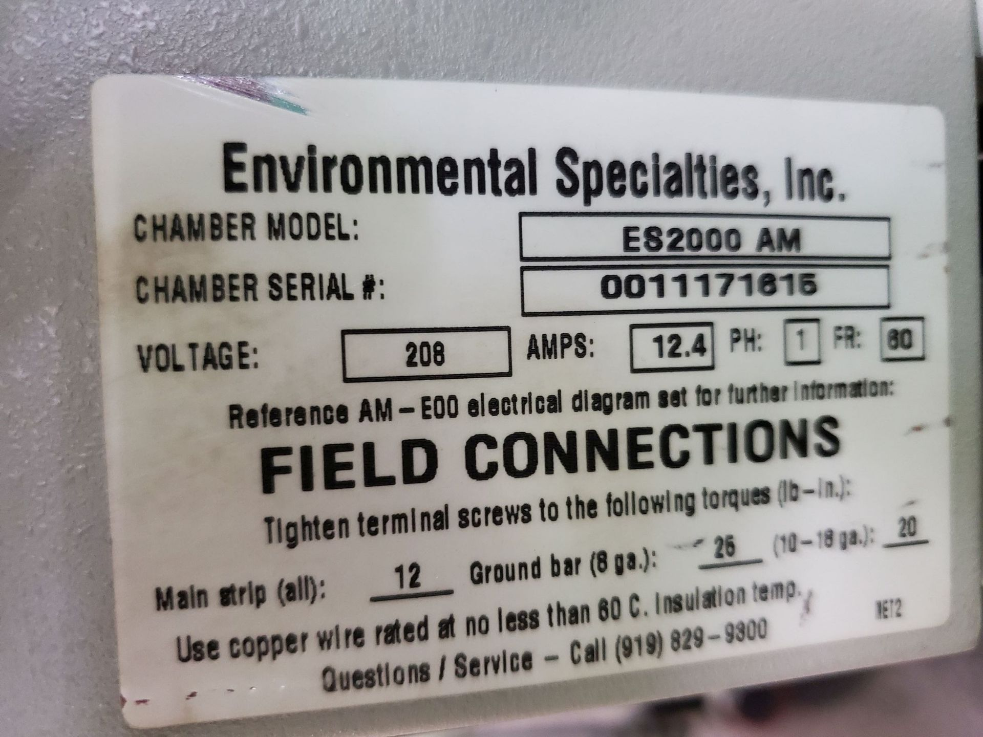 Lot 21 - Environmental Specialties Stability Chamber, model ES2000AM, 0-70 C range