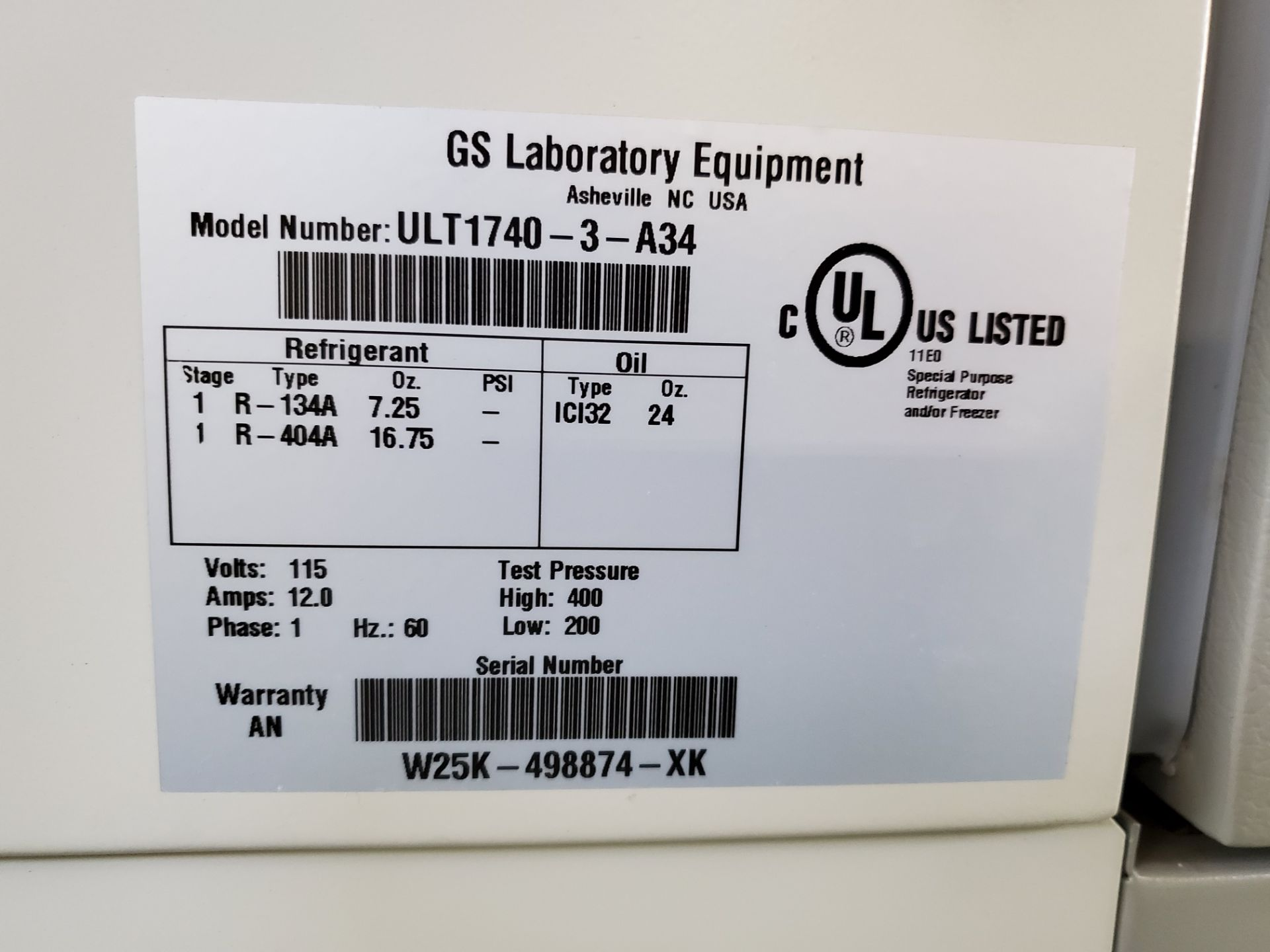 Revco/GS Laboratory Equipment Freezer, model ULT1740-3-A34 - Image 6 of 7