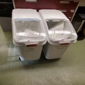 (2) Castered Rubbermaid Totes
