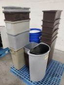 Lot of (7) Plastic Waste Bins