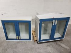 (3) Fisher-Hamilton Glass/Steel Mounted Cabinets