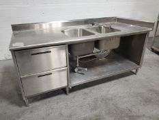 """83"""" x 35"""" Stainless Steel Counter with Sink"""