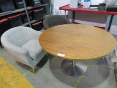 CIRCULAR WOODEN TOP TABLE AND 2 X TUB CHAIRS