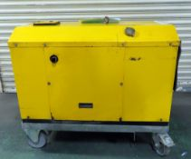 Harrington 7Kva Trolley Mounted Generator. Runs And Volts But Not Load Tested. Unknown Hours.