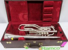 Besson International BE708 Fanfare Trumpet With Case. Serial Number: 884167. Please Note T