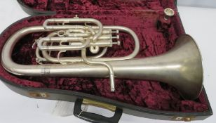 Boosey & Hawkes Imperial Baratone sax horn with case. Serial number: 662332. Please note t