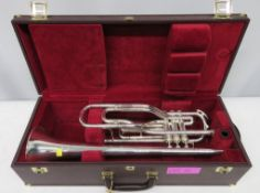 Besson International BE707 fanfare trombone with case. Serial number: 883175. Please note