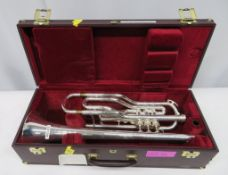 Besson International BE708 fanfare trombone with case. Serial number: 880276. Please note