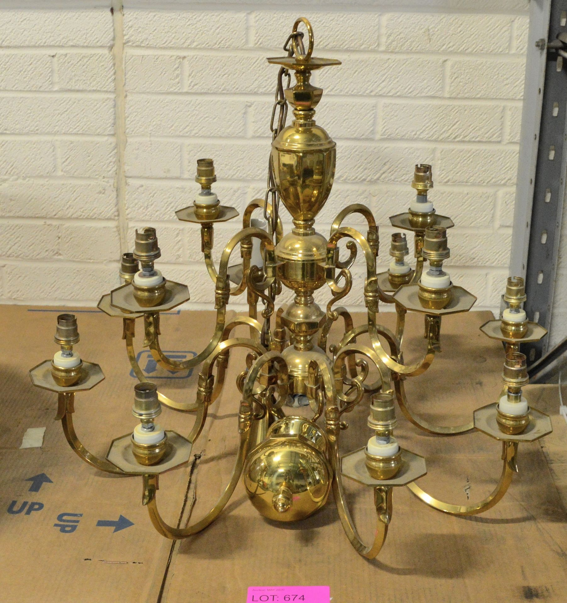 Lot 674 - 12 Lamp Chandelier from Chatham House