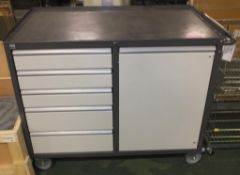 Mobile cart - 4 drawers and cupboard