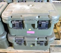 2x Cambo Green Plastic Food Container L650 x W440 x H310mm.