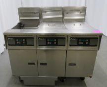 Pitco SG50 3 tank twin basket fryer, natural gas