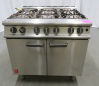 Falcon G3101 6 burner range oven, natural gas