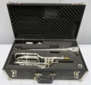 Smith-Watkins fanfare trumpet with case. Serial number: 33104.