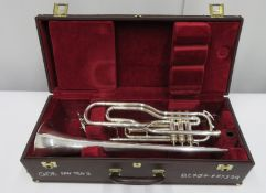 Besson International BE707 fanfare trumpet with case. Serial number: 883329.