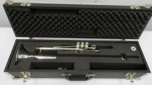 Smith-Watkins fanfare trumpet with case. Serial number: 696.
