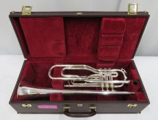 Besson International BE707 fanfare trumpet with case. Serial number: 891438.