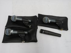 3x Shure BETA 58A & 1x Shure SM57 microphones (as pictured). Please note that this item i