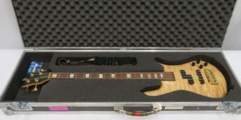 Spectre bass guitar in flight case. Serial number: NB10193.