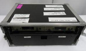 Sennheiser radio mic rack & receivers (EW300) complete with EW300 mic in flight case.