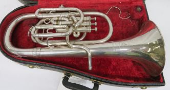 Boosey & Hawkes Imperial Baritone sax horn with case. Serial number: 458044.