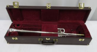 Besson International BE706 fanfare trumpet with case. Serial number: 889471.