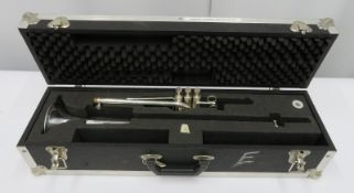 Smith-Watkins fanfare trumpet with case. Serial number: 787.