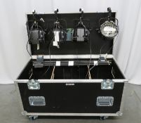 Various lighting and staging equipment in flight case (see pictures for contents).