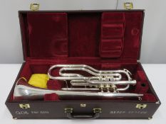 Besson International BE708 fanfare trumpet with case. Serial number: 887800.
