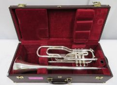 Besson International BE707 fanfare trumpet with case. Serial number: 890228.