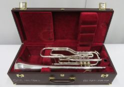 Besson International BE707 fanfare trumpet with case. Serial number: 884160.