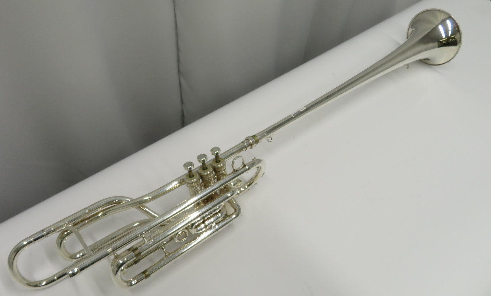 Lot 9 - Besson International BE707 fanfare trumpet with case. Serial number: 884160.
