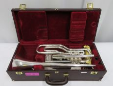 Besson International BE708 fanfare trumpet with case. Serial number: 888881.