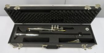 Smith-Watkins fanfare trumpet with case. Serial number: 753.