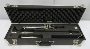 Smith-Watkins fanfare trumpet with case. Serial number: 1003.