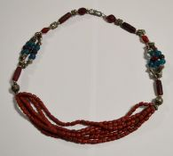 Red/Silver 3 String Bead Necklace.